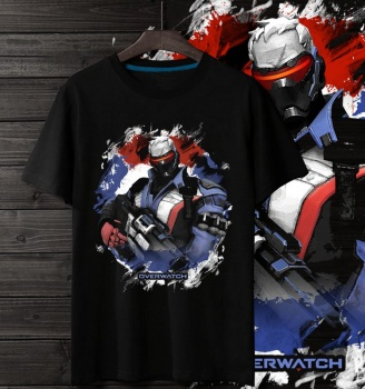 Overwatch Gaming Hero Tshirt Soldier 76 Tee Shirts