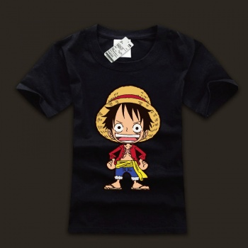 Lovely Monkey D. Luffy Tshirts One Piece Black Tees For Man