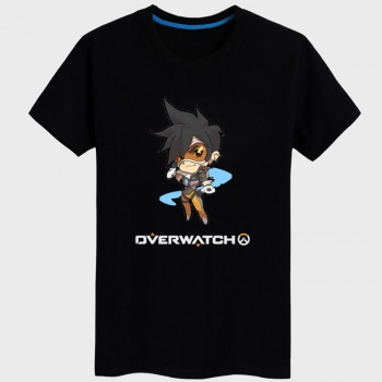 Black Overwatch Tracer Hero T shirt For Mens Women's