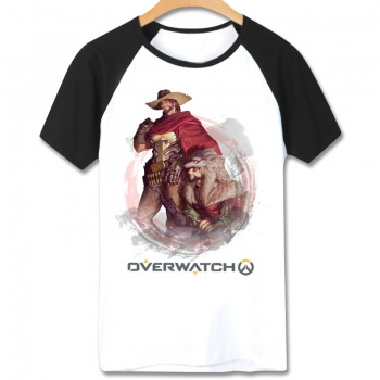 Overwatch Hero Mccree T-Shirts Short Sleeve Cotton White Tees