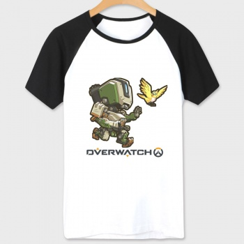 Overwatch Bastion Character Tshirts white Tee For Couple