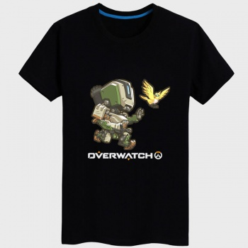 Overwatch Bastion Hero Tee Couples black Tshirt