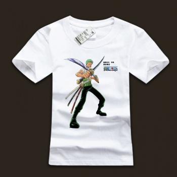 Quality One Piece Roronoa Zoro White T-shirts For Mens