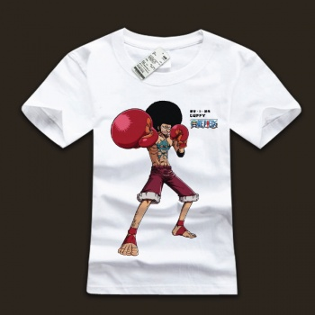 Cool One Piece Monkey D. Luffy White Black Tshirts For Mens