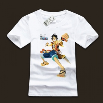 One Piece Luffy White Cotton Tshirs For Mens