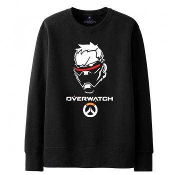 Overwatch Blizzard soldado 76 sudar camisas para hombre negro con capucha