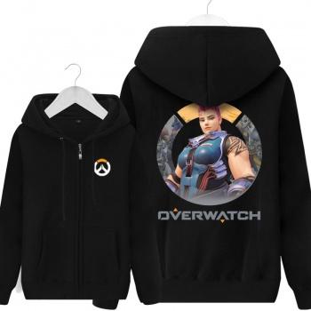 Sudaderas con capucha de Overwatch Cs Zarya con capucha los hombres grises
