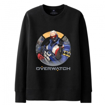 Over Watch Soldier 76 Hoodie For Boys black Sweater