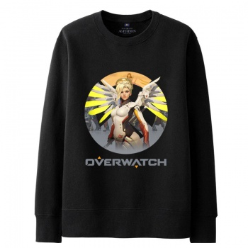 Overwatch Mercy Sweatshirt Men black Hoodies