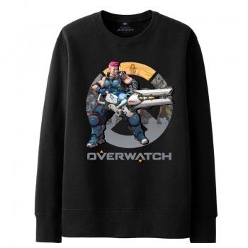 Overwatch Zarya con capucha hombres negro sudaderas con capucha