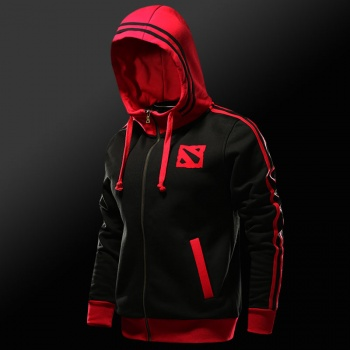 DOTA 2 Logo Hoody Man Black Full Zipper Sweat Shirt