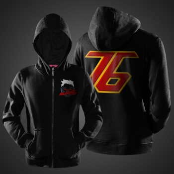 Blizzard Overwatch Soldier 76 Hoody Mens Black Full Zipper Hoodies