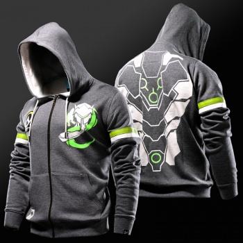 Overwatch Genji cremallera sudadera con capucha para hombre de la camiseta gris fresco