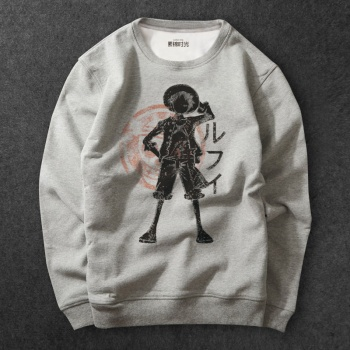 One Piece Monkey D Luffy Sweatshirt Mens gray Hoodies
