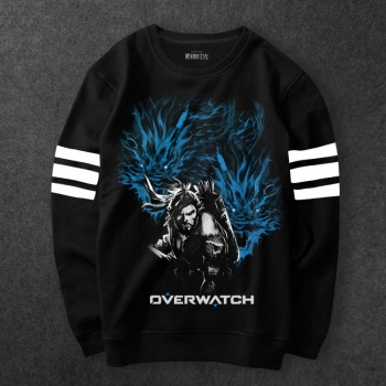 Overwatch Hanzo Hoodies Men Black Round Neck Sweatshirt