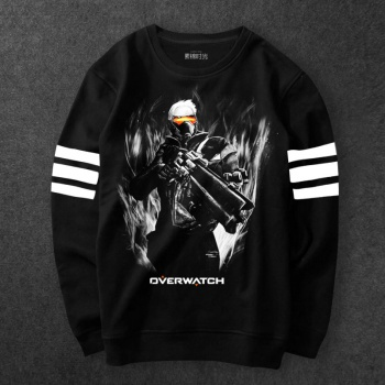 Blizzard Overwatch Soldier 76 Sweatshirt Men Black Hoodie