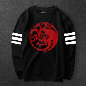 Game of Thrones House Targaryen Sweatshirts Men Black Three-headed Dragon Hoodie