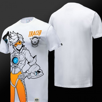 OW Overwatch Tracer T-shirt Mens White Tees