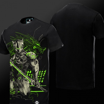 2016 New Luminous Blizzard Overwatch Genji T Shirts Black OW Game Hero Tee For Man