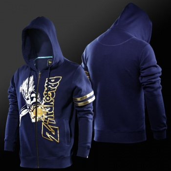 Dragon Ball Vegeta Final Flash Hoodies Mens Boys Blue Zip Up Sweatshirts