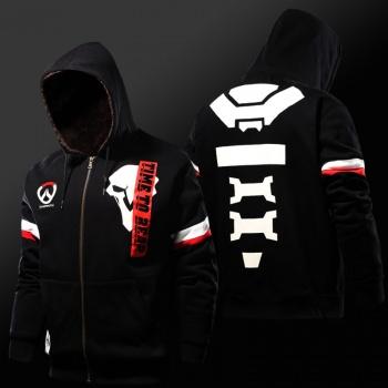 Winter Overwatch Reaper Hoodies Zip Black Sweatshirt For Mens